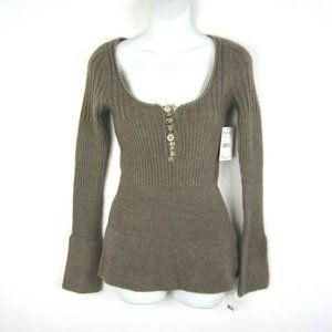 FREE PEOPLE Wool Blend Henley Sweater NEW M Button